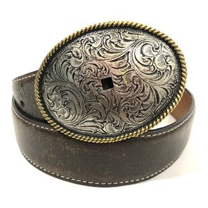 Nocona Western Belt Leather Embossed Oval Buckle